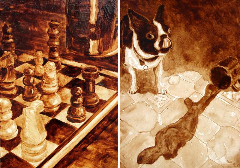 Satranç ve kahve tadan köpek - Andy ile Angel Saur